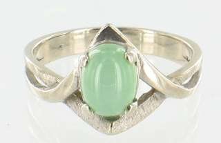 VINTAGE 14K WHITE GOLD 1.8CT GREEN STAR SAPPHIRE RING SZ 6.5 RARE