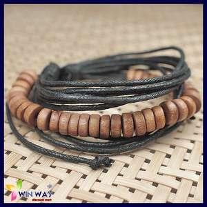 Mens Hemp Surfer Tribal Multi Wrap Wood Beads Bracelet