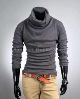 SLIM FIT BASE Turtle Neck Plain Sweater T shirt Black Grey Brown ST04