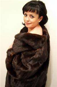 REAL SHEARED MINK FUR COAT Terrific Shiny Dark Brown Mink Coat Full