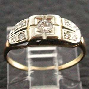 Yellow Gold Vintage Artistic Design Art Deco Diamond Pinky Ring