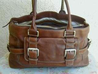 Large Whiskey Brown Leather MICHAEL KORS Messenger Tote Bag~Boho Purse