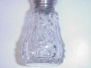 ANTQIUE CUT GLASS CRYSTAL SALT SHAKER STERLING TOP
