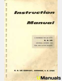 KO Lee Universal Tool Cutter Grinder Instruction Manual