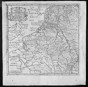 1661 Cluver Antique Map of Netherlands Belgium Germany