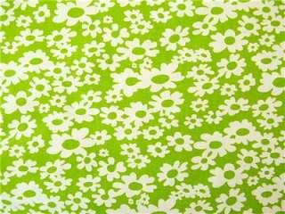 BRIGHT GREEN WHITE HIP FLOWERS FUN DAISY MODERN FABRIC