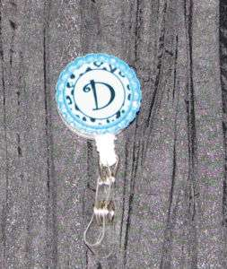 Initial ID badge holder w/ retractable reel turquoise