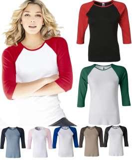 Size S 2XL Baseball Raglan 3/4 Sleeve T Shirt TEE Womens 2000