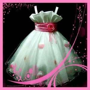 SZ 8 10 Pink Wedding Party Communion Flower Girls Dress