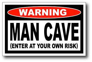 Man Cave Enter At Own Risk Funny Sticker Decal Tool Box