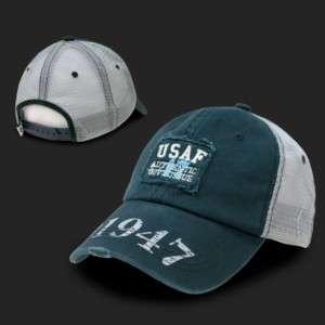 Navy Blue USAF United States Air Force Vintage Mesh Trucker Cap Caps