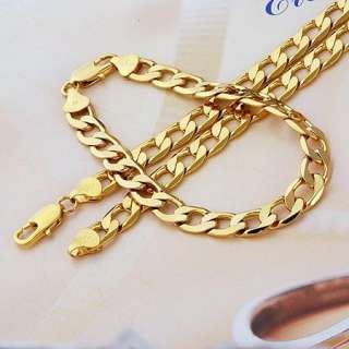 Mens 18k Yellow gold filled necklace Curb chain Necklace/bracelet