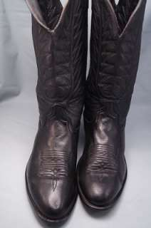 Black Leather 10 EW Mens Western Boots
