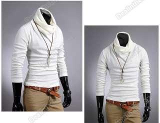 New Korean Mens Casual Slim Fit Stylish Dress Shirts T shirt Tee Tops