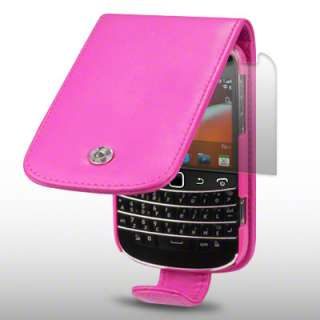 PU LEATHER FLIP CASE FOR BLACKBERRY 9900 + LCD GUARD