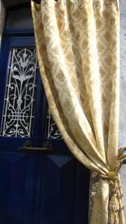 SHABBY CHIC VINTAGE FRENCH SILK BROCADE PORTIERE FLORAL CURTAIN