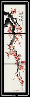 Hand painted Oriental paintings (CHERRY BLOSSOMS) Vertical set of 3