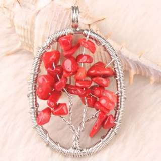 Hot  Red Coral Chip Beads Wrap Tree Oval Pendant 1PC