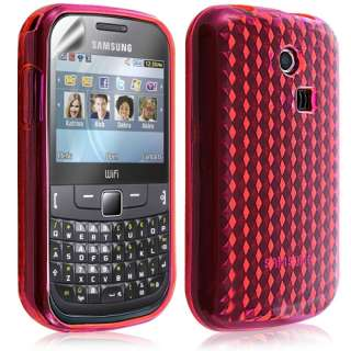 Housse coque gel damier transp Samsung Chat 335 S3550 couleur rose