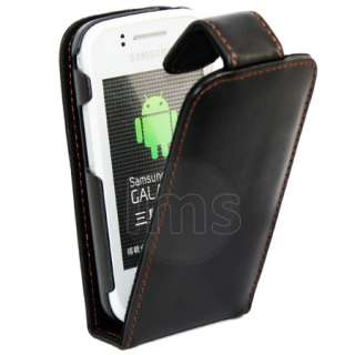 Magic Store   Black Flip Leather Case Samsung Galaxy Gio S5660 + Film