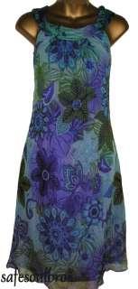 PER UNA BLUE/GREEN SILK SUMMER DRESS 8 10 12 16 20