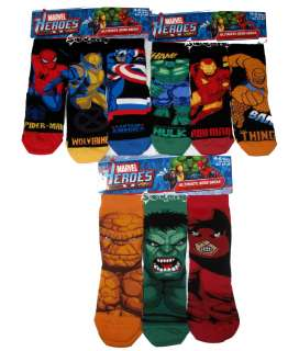 Pairs Boys Marvel Avengers XMen Socks Shoe Sizes 9 6