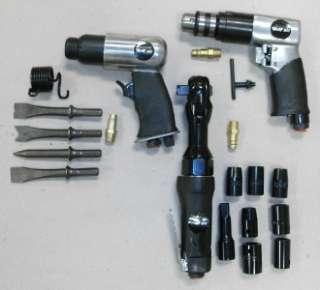 3pc Wolf Air Tool Set Kit Chisel Drill Ratchet Sockets