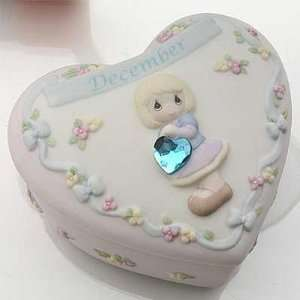 PRECIOUS MOMENTS BIRTHDAY HEART BOX W/BIRTHSTONE   DECEMBER