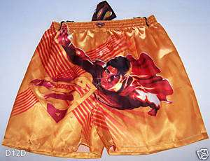 Superman Boys Yellow Satin Boxer Shorts Size 6   8 New
