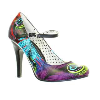 WOMENS TUK NEON PEACOCK MARY JANE HIGH HEEL PUNK GOTH COURT SHOES SIZE