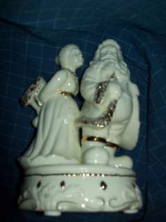 CERAMIC SANTA & MRS CLAUSE BAUM BROS. MUSICAL GOLD TRIM