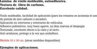 VINILO FIBRA DE CARBONO TEXTURADO, MOLDEABLE 59 X 30 CM