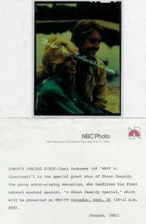 Loni Anderson Shaun Cassidy   Orig. NBC TV 1981 Photo