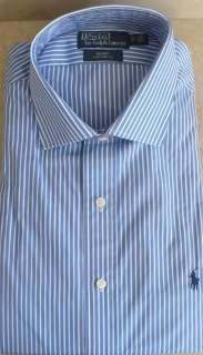 RALPH LAUREN PRETTY BLUE WHITE STRIPE NAVY LOGO DRESS SHIRT SPREAD