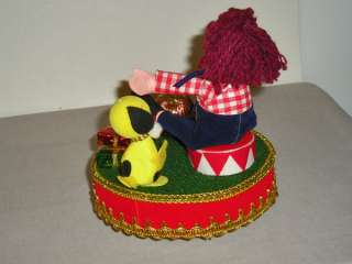 Vintage Berman Anderson Christmas Music Box Raggedy Ann Andy Scenes
