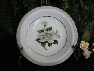 JAPAN Fine China White Rose (Platinum) SOUP BOWL #3939