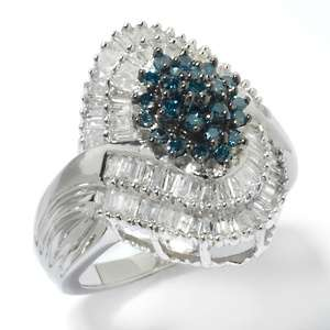 99ct Blue and White Diamond Sterling Silver Ring