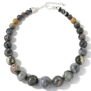 Burma Jasper Sterling Silver Graduated Bead 21 Necklace