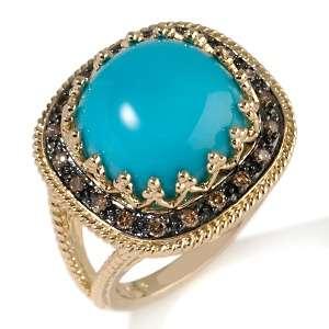 Sleeping Beauty Turquoise and Chocolate Diamond 14K Ring