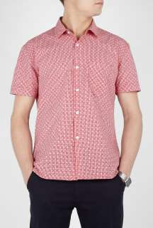 Works  Red Spot Print Gingham Short Sleeve Shirt by Universal Works