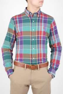 Polo Ralph Lauren  Turquoise Purple Plaid Cotton Shirt by Polo Ralph