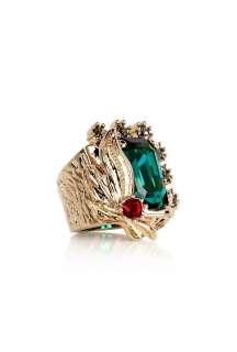 Mawi  Rose Gold Leaf Motif and Crystal Gemstone Ring by Mawi