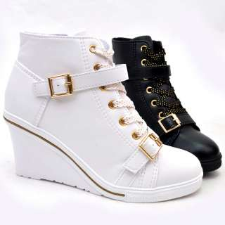 Womens Black White Buckle Sneakers Wedge Heel Shoes US5~8 / Fashion