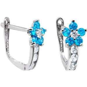 14K White Gold Blue Zircon Cubic Zirconia Flower Earrings Jewelry