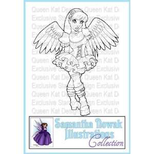 Gothic Angel Girl Unmounted Rubber Stamp: Everything Else