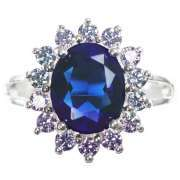 Silver Plated Ring with Blue Sapphire Stone Effect Centre   in the