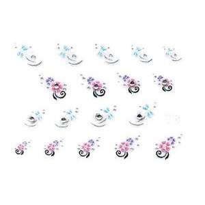 White Dragonfly & Pink Floral Rhinestone Nail Stickers/Decals Beauty