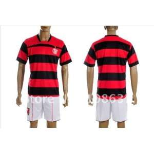 home red black stripes soccer jerseys football uniform with shorts