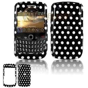 com BlackBerry Gemini 8520 PearlFlip Cell Phone Black/white Polka Dot
