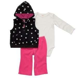 , Bodysuit and Pant Set   Black/White/Pink Polka Dot (6 Months) Baby
